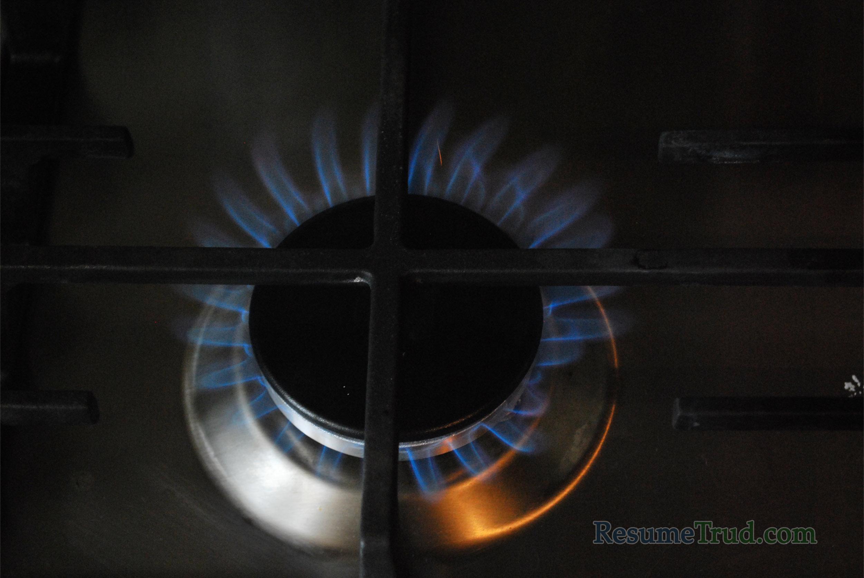 огонь газа на плите
